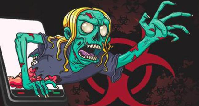 Cartoon of  green skeletal figure reaching out of phone
