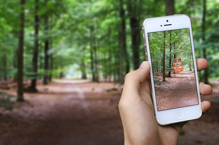 The Trax app gives you an 'augumented reality' view to help find the kids