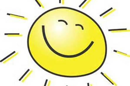 Clip Art cartoon of smiling sun