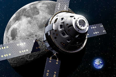Artist's rendering of the Orion spacecraft at the Moon