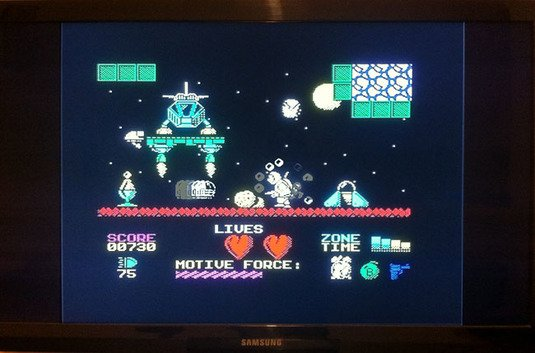 A Spectrum game running on the Vega, as displayed on a TV.