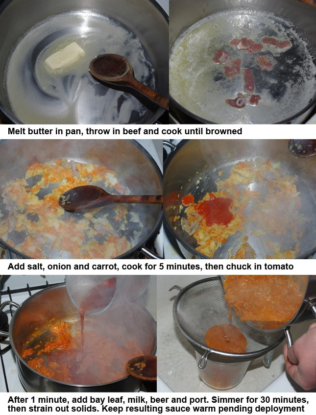 The six steps involved in preparing the Francesinha sauce