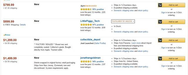 iPod Classic Amazon listings