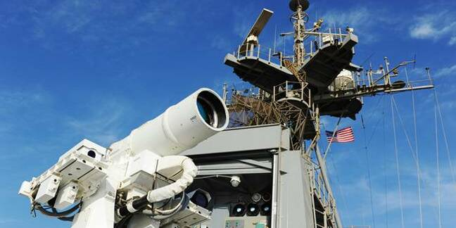 Laser weapon aboard USS Ponce