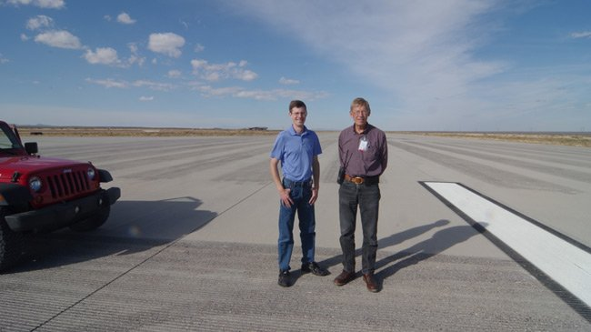 David Patterson and Bill Gutman on the runway at Spaceport America