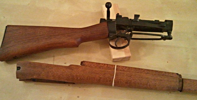 Lee Enfield receiver with furniture. Pic: Gareth Corfield