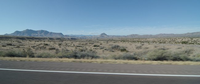 View of New Mexican desert from the car window