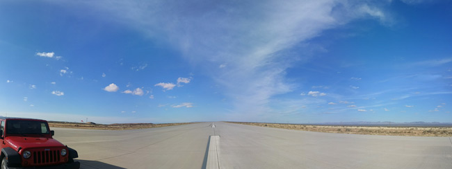 Panoramic view of the runway centred on north