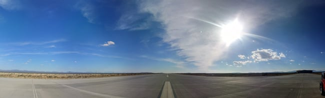 Panoramic view of the runway centred on south