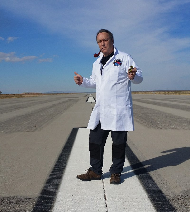 Lester on the runway in his SPB lab coat