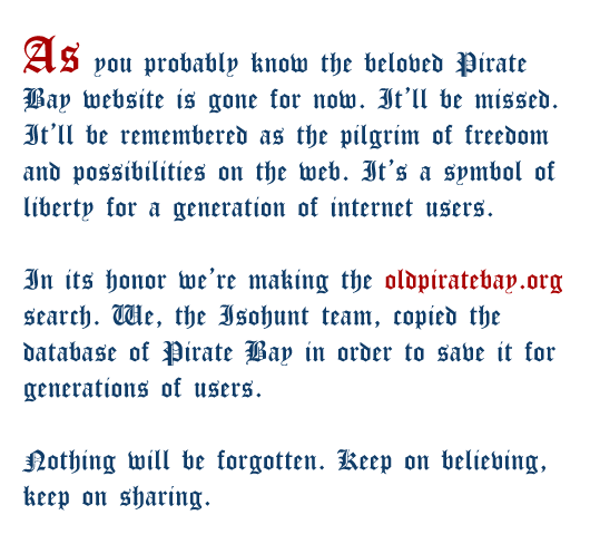 Isohunt's Pirate Bay manifesto