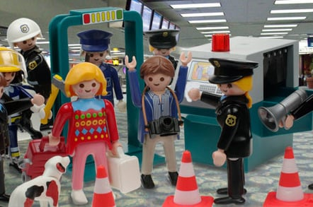 Two Playmobil figurines hassled by airport security