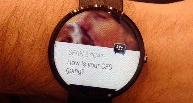 BlackBerry Messenger running on Android Wear