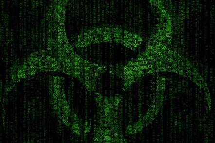 close up of glowing green binary in the symbol of contaminent. By Robert van der Steeg