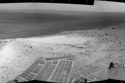 Opportunity's View from Atop 'Cape Tribulation': Image Credit: NASA/JPL-Caltech