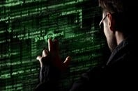 Silhouette of spy discerning password from code uses a command on graphic user interface