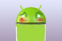 An Android robot blushes from embarrassment