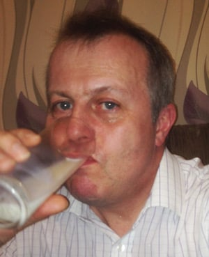 Paul Shackleton drinks a glass of milk after his omelette ordeal