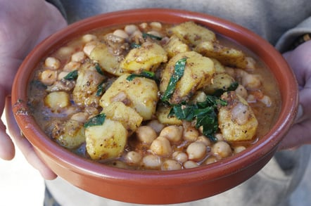 Sag aloo mixed with our chickpea stew