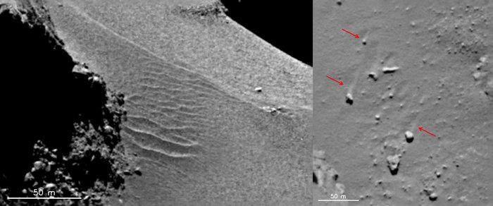 Dusty regions on comet 67P