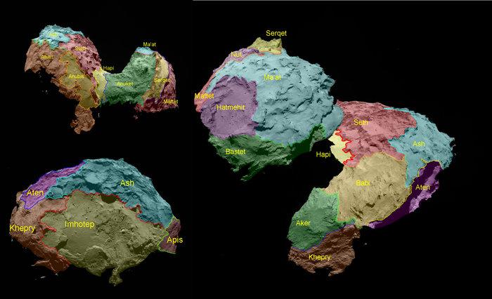 The 19 regions of 67P -ESA/Rosetta/MPS for OSIRIS Team MPS/UPD/LAM/IAA/SSO/INTA/UPM/DASP/IDA