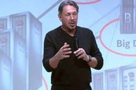 Larry Ellison on stage at the launch of Oracle's X5 engineered systems range