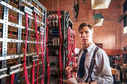 Alan Turing (Benedict Cumberbatch) and the Bombe machine