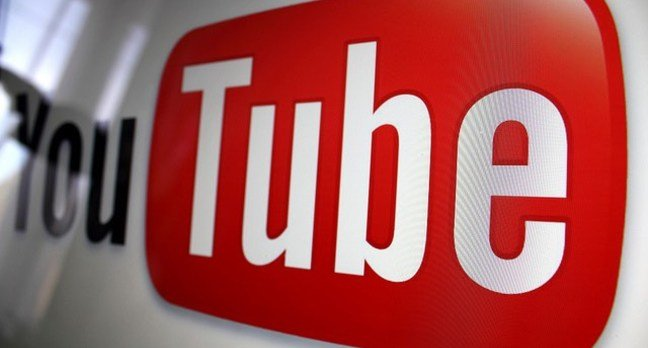 Close-up of a YouTube logo as viewed on a computer screen in close up...