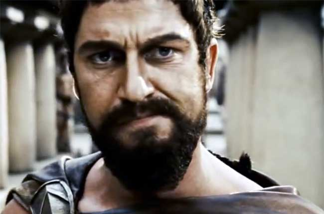 Leonidas, khan of Sparta, as portrayed by Gerard Butler in the movie 300. Pic copyright: Warner Bros