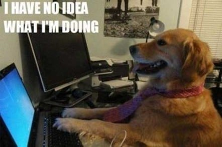 """Meme of a dog """"typing"""" at a computer, with the large font phrase """"I have no idea what I'm doing' above him."""