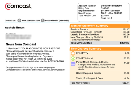 Comcast bill for Asshole Brown