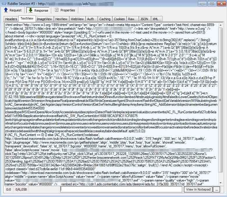 Malvertising screen shot