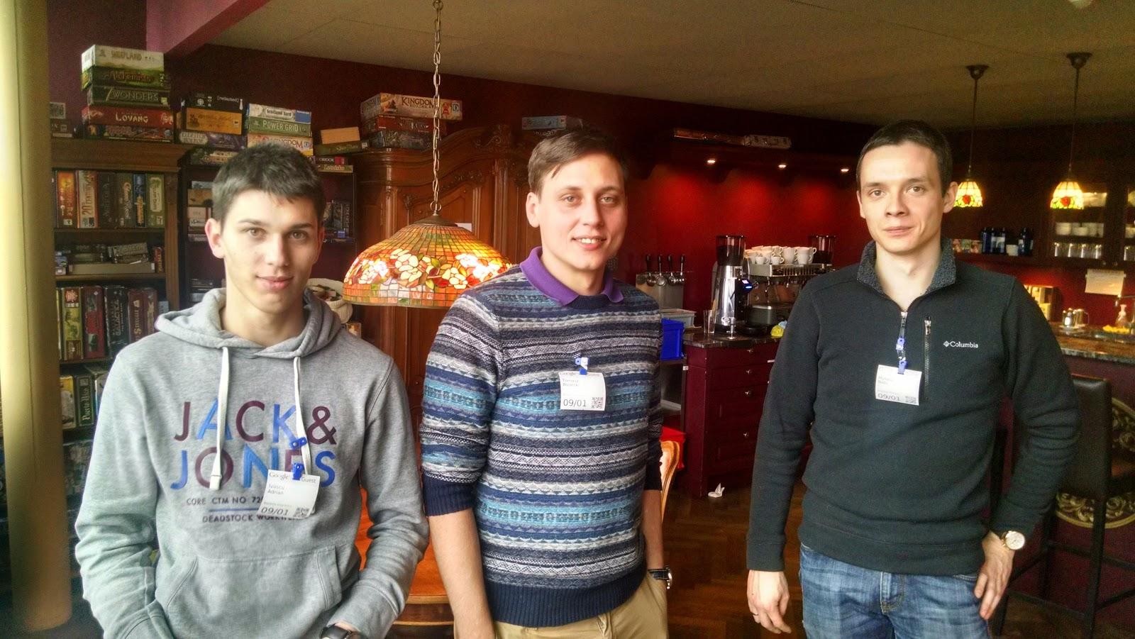 Top bug hunters Adrian (Romania), Tomasz (Poland / UK), and Nikolai (Ukraine). Credit: Google.