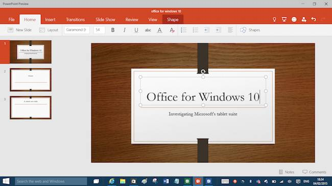 Powerpoint preview for Windows 10