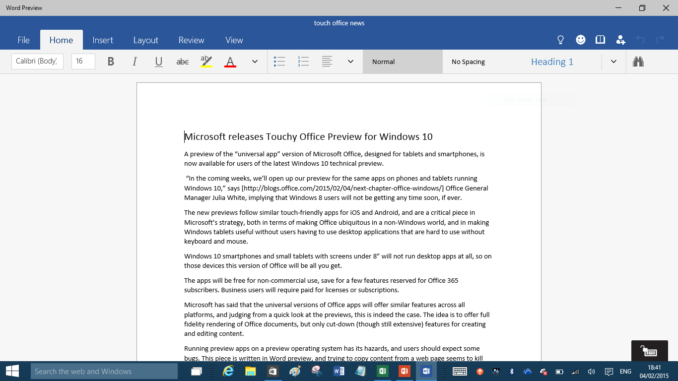 Behold the touchy feely future of office on windows 10 for What is microsoft windows