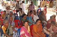 Poor people in India queue for a political party-sponsored medical check. Pic: Welfare Party of India