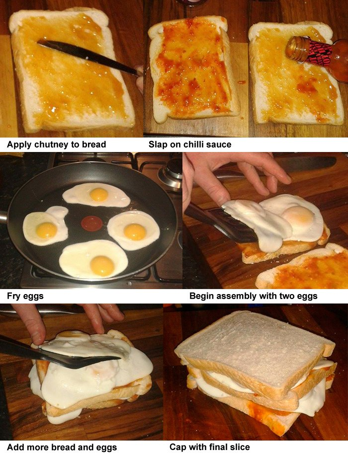 The six steps required to create the Red Dwarf sarnie