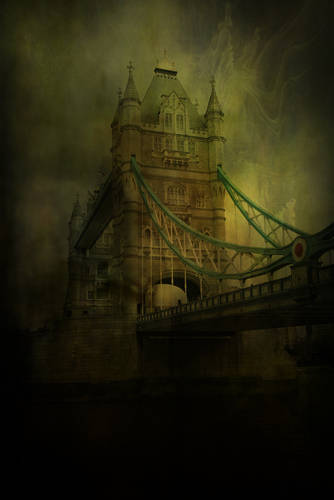 Victorian era oil painting depicting Tower Bridge. Photo by Shutterstock
