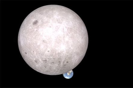 Wide angle image makes the moon look much bigger than the earth