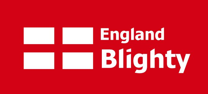 Our England rebrand, featuring the flag and word Blighty