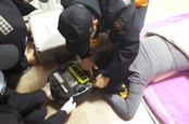 Woman being eaten by vacuum cleaner