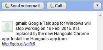 Google Talk shutdown notice