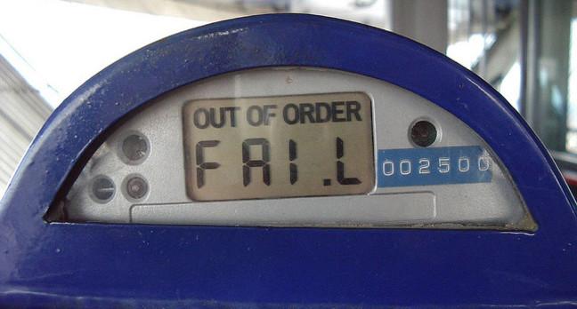 Parking meter FAIL from Ryan Stele's Flickr account  https://www.flickr.com/photos/tweek/139509551/in/photolist-dk2k6-8VcmSf-5w27pU-7RdimR-7RdiiK-7RdifK-7Rgz8f-7Rdiai-czUVBh-9Ls61i-5cY5jG-9bGK2Y-6VH3Xz-5YVGNT-abaRJ9-6PjTC5-6opqMB-jitAoe-5Yvee7-65tNZD-5xf3hB-a9Zegh-845DZg-ocfXQT-bfZB5z-aWWvax-bVe3vu-6yra6f-6yra4A-8nudtt-6WhDiL-6qNQyT-7YYReC-6yra5N-6yra3w-6yra2Y-6yn2HX-a6MPYs-6yn2Qx-6yn2Pv-6yra49-6yra2q-6yn2Hx-6yra57-6qT1yb-55rYVK-6yra75-6yr9ZQ-6odx71-68EVsF