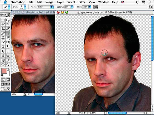 Adobe Photoshop 7 – Dabbsy with no eyebrows