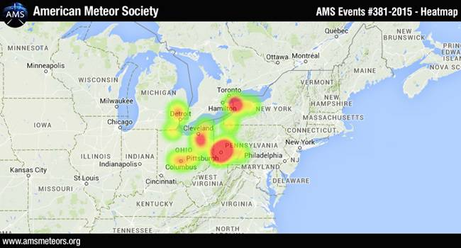 A heat map from the meteor's explosion