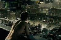 Colin Farrell surveys the planet in the Total Recall remake. Credit: Sony Pictures