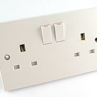 GSM bugged double UK mains socket