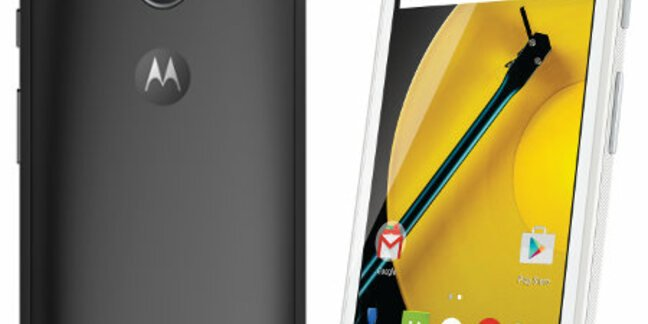 Moto E front and back view. Pic: Motorola