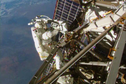 Spacewalking outside the ISS. Image credit: NASA TV
