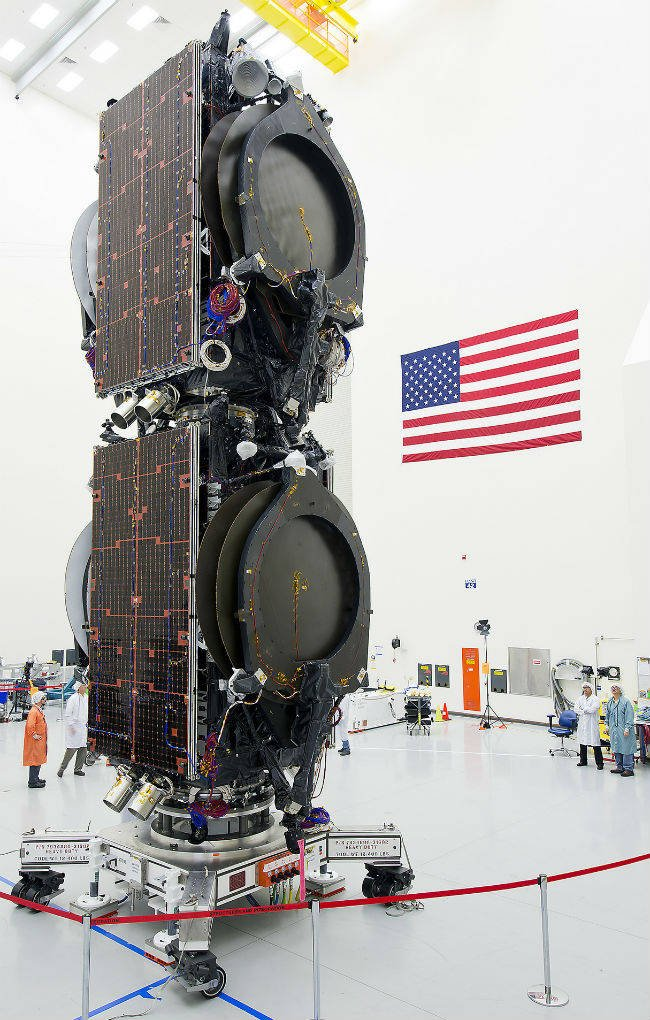 Stacked Boeing satellites ready for SpaceX launch